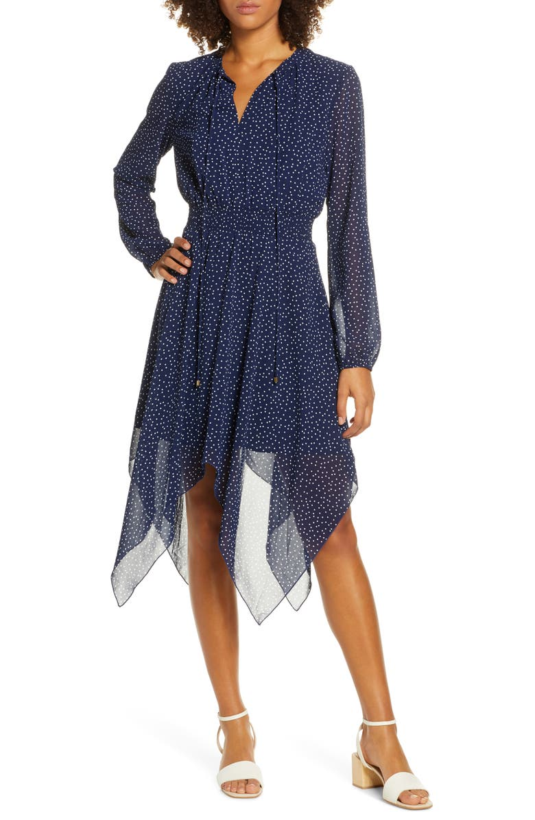 CHARLES HENRY Dot Print Long Sleeve Handkerchief Hem Dress, Main, color, 400