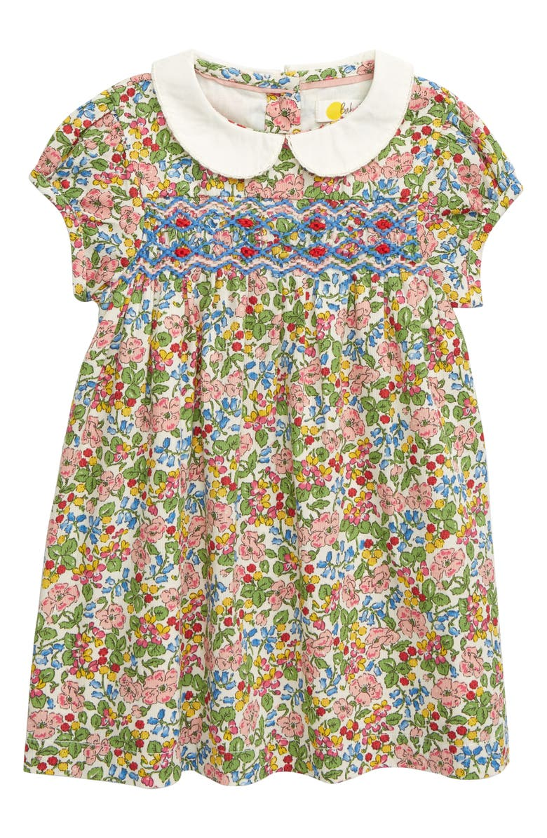 MINI BODEN Smocked Floral Dress, Main, color, CHALKY PINK/ FLOWER/ BERRY