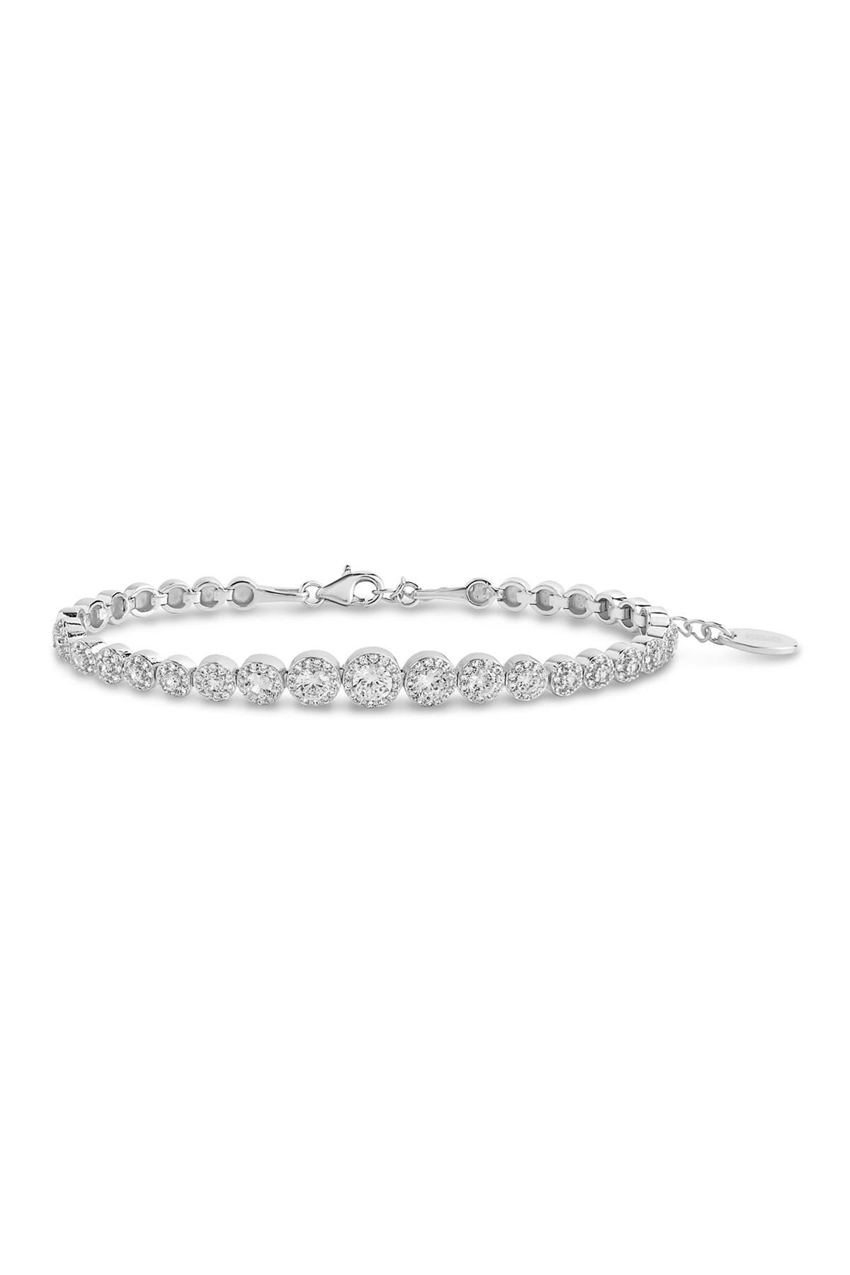 Image of Sterling Forever Rhodium Plated Brass CZ Graduated Halo Tennis Bracelet