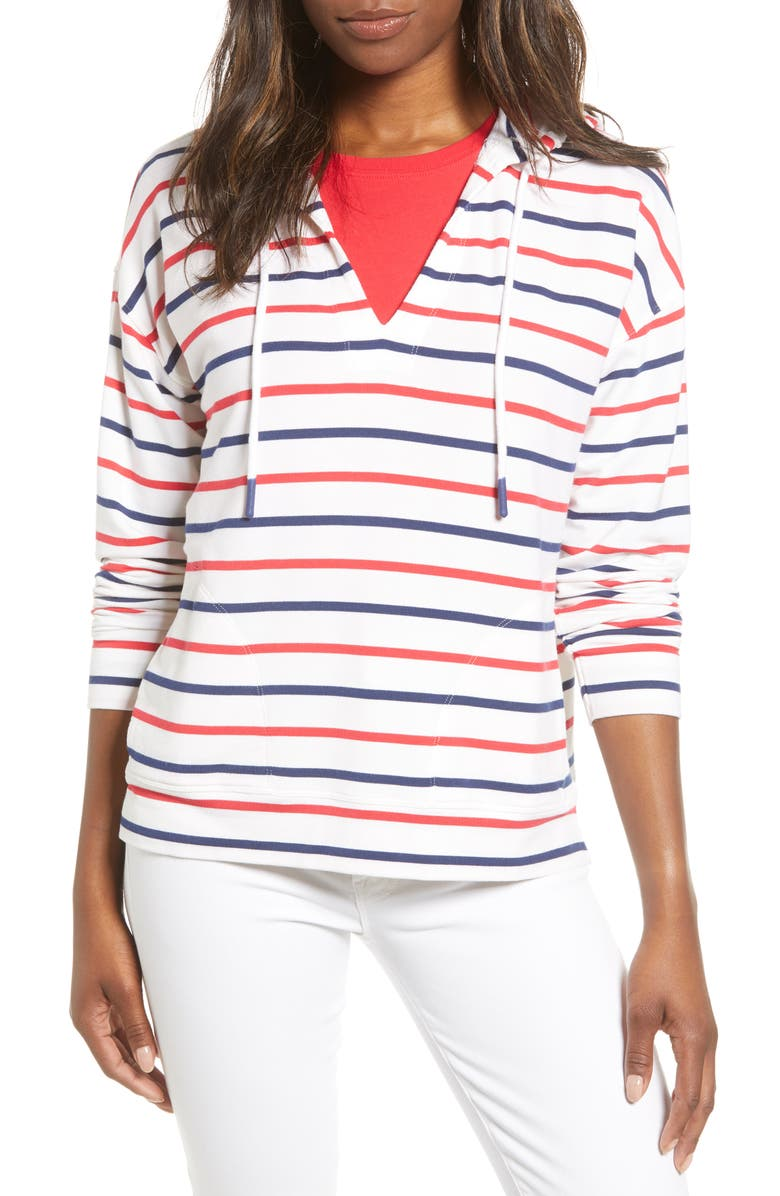 VINEYARD VINES Americana Stripe Popover Hoodie, Main, color, LIGHTHOUSE RED