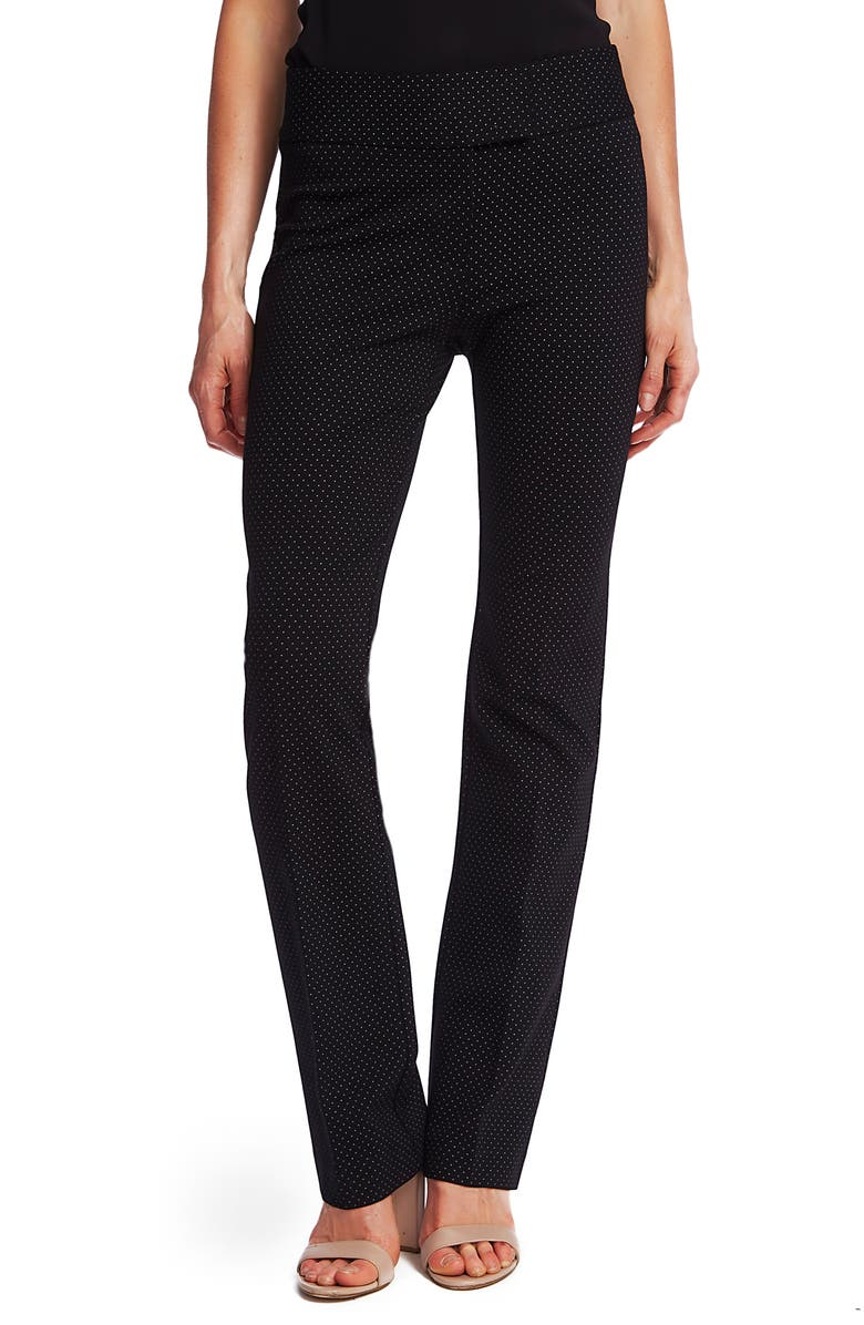 CECE Pindot Ponte Mini Boot Pants, Main, color, RICH BLACK
