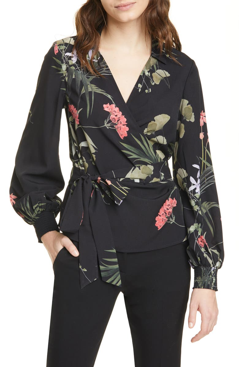 TED BAKER LONDON Yayah Highland Floral Wrap Front Blouse, Main, color, BLACK