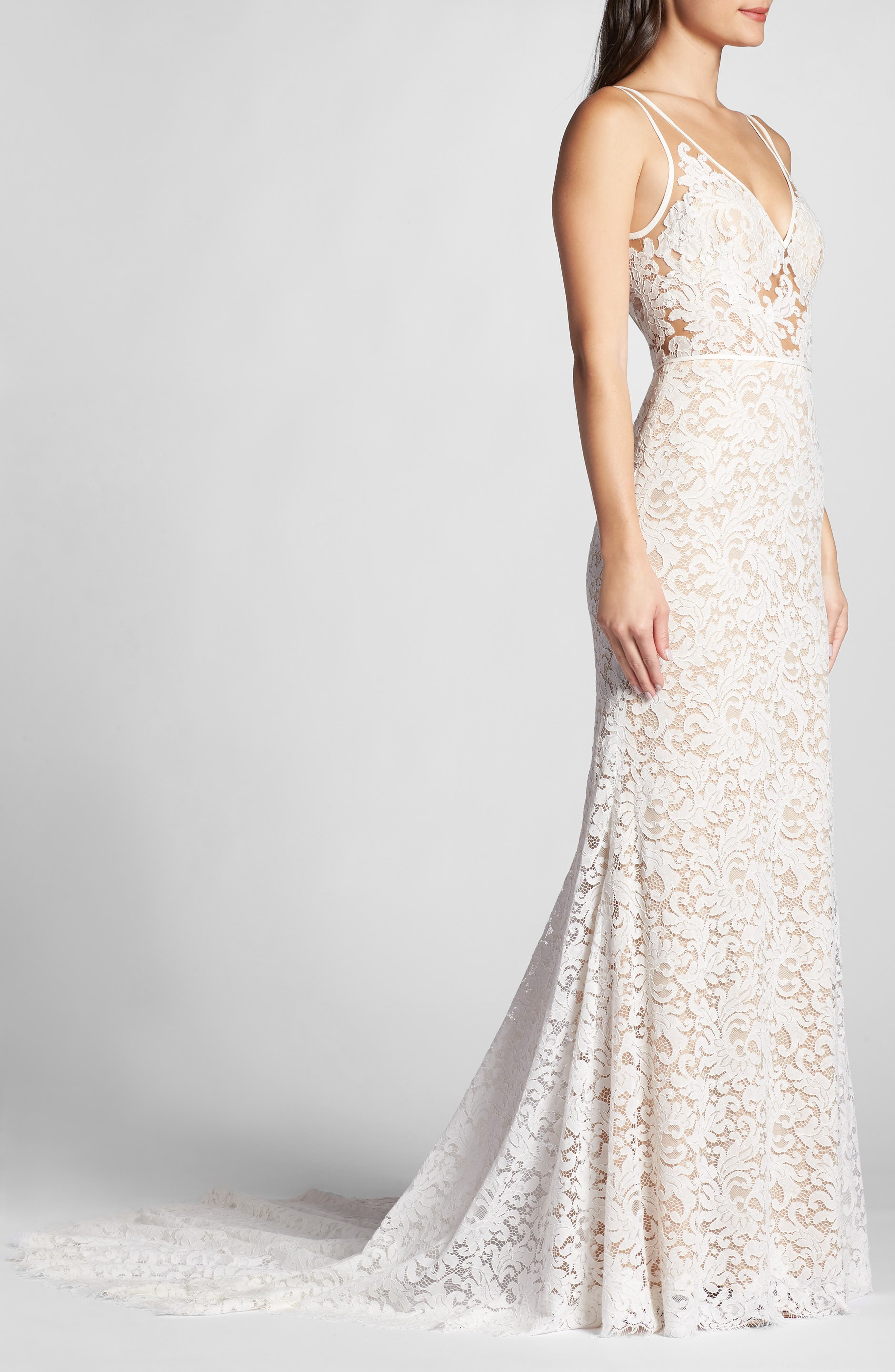 ,                             Derica Lace Gown,                             Alternate thumbnail 3, color,                             IVORY / NUDE