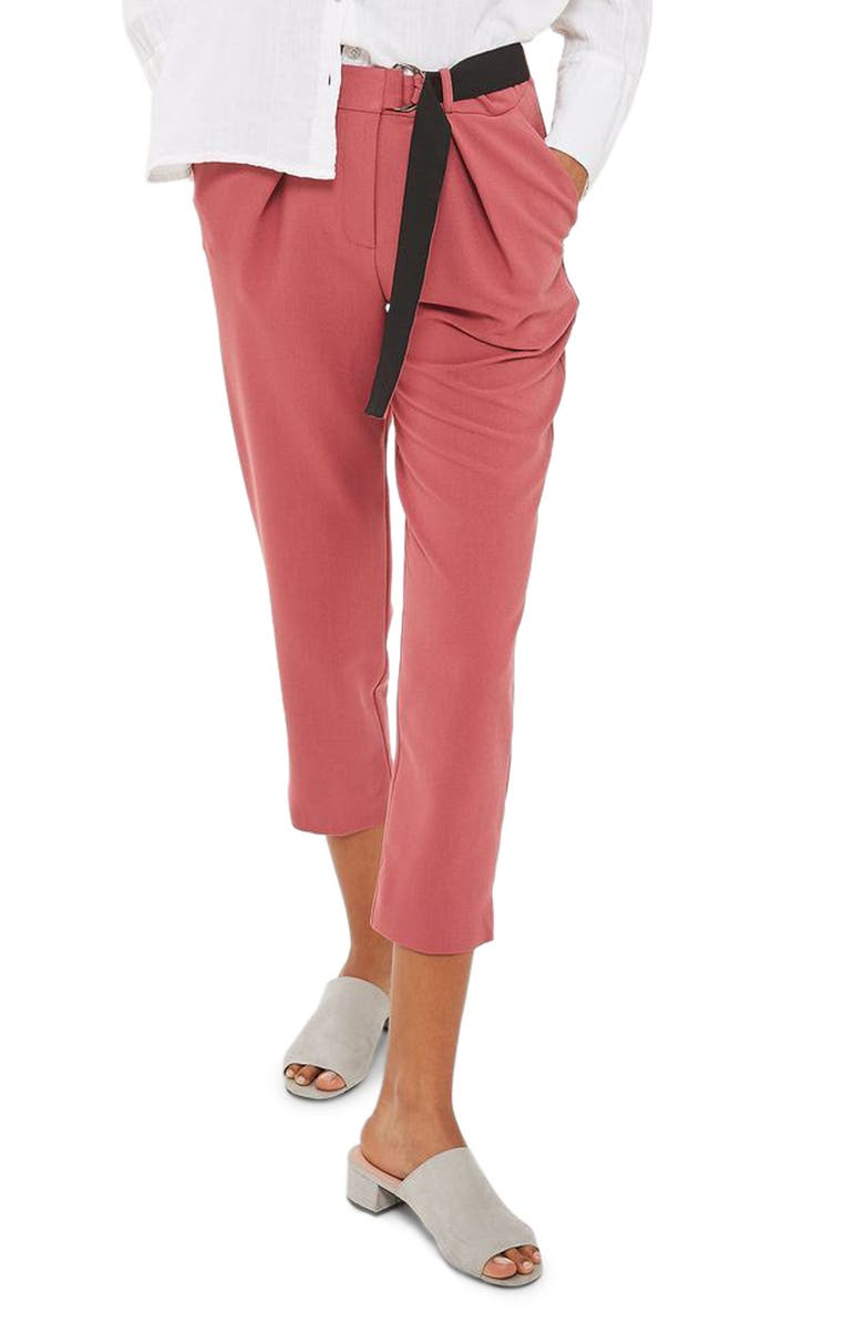 TOPSHOP Belted Peg Trousers, Main, color, 620