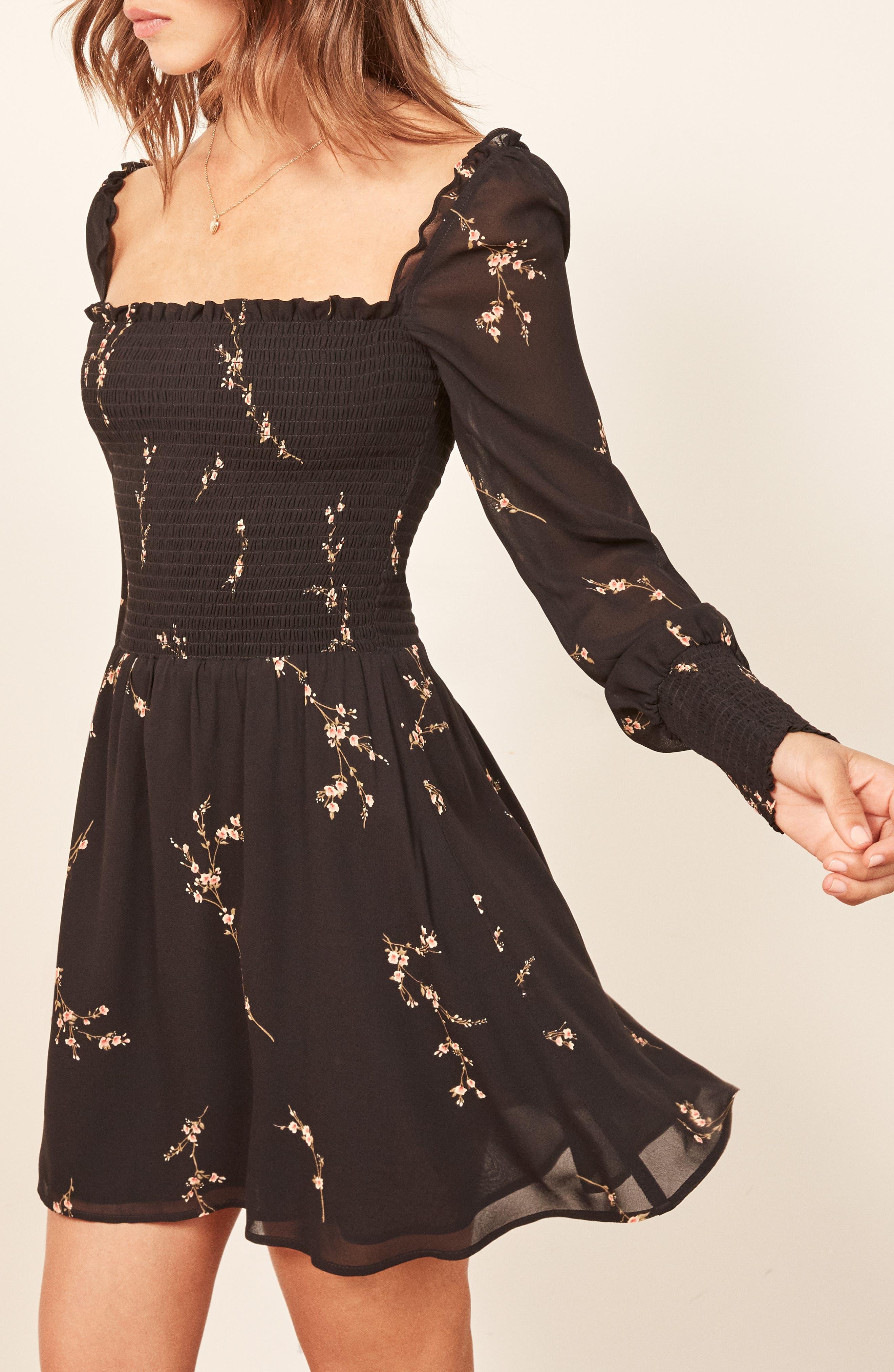 ,                             Kelli Smocked Bodice Fit & Flare Minidress,                             Alternate thumbnail 5, color,                             001