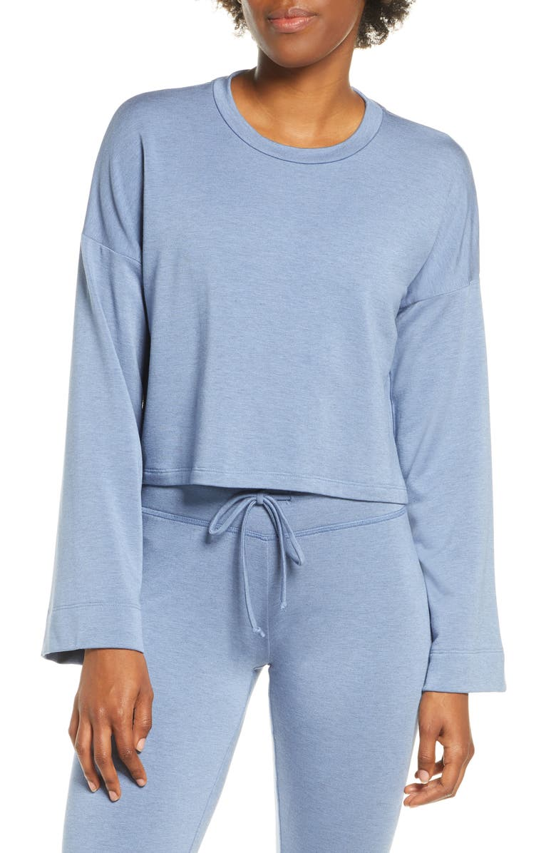 BEYOND YOGA Tunnel Sleeve Crop Pullover, Main, color, SERENE BLUE HEATHER