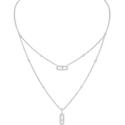 Messika Lucky Move Pave Diamond Layered Pendant Necklace