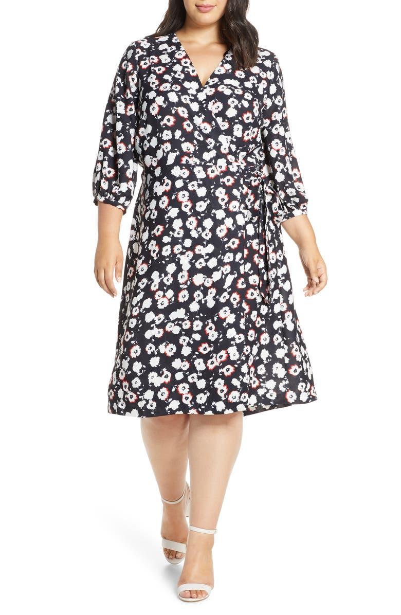 ELOQUII Wrap Dress, Main, color, CHISANA HANA