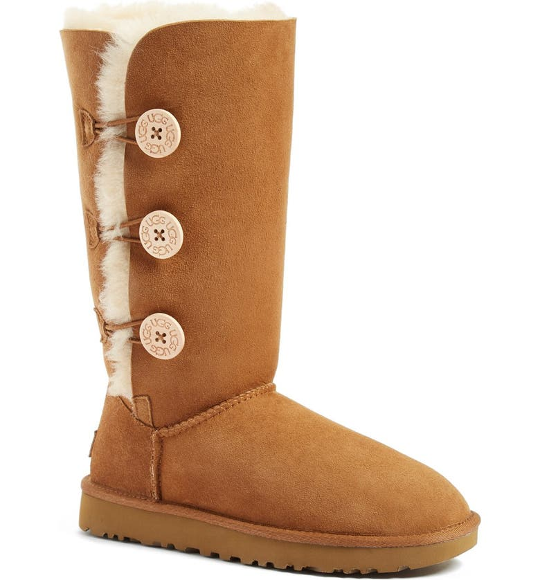 UGG<SUP>®</SUP> Bailey Button Triplet II Genuine Shearling Boot, Main, color, CHESTNUT SUEDE