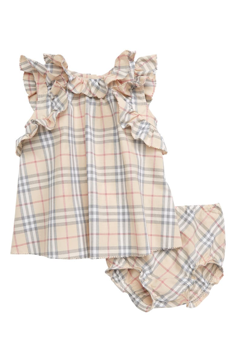 BURBERRY Carla Swing Top & Bloomers Set, Main, color, PALE STONE IP CHECK