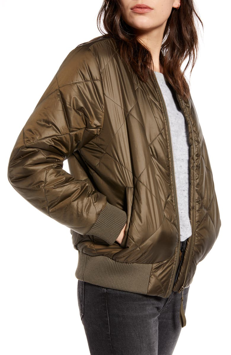TREASURE & BOND Quilted Bomber Jacket, Main, color, OLIVE SARMA