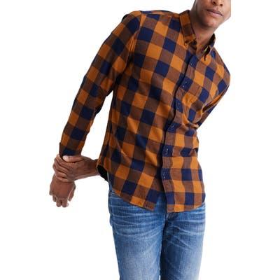 Madewell Buffalo Check Lightweight Flannel Button-Down Shirt, Beige