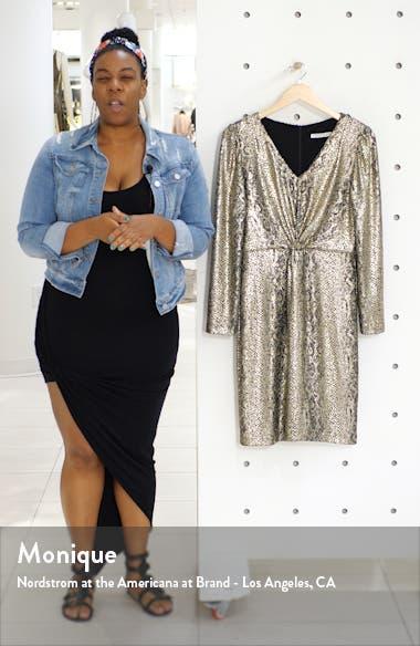 Metallic Snakeskin Print Long Sleeve Dress, sales video thumbnail