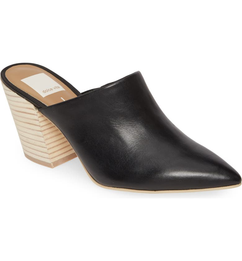 DOLCE VITA Angela Pointy Toe Mule, Main, color, BLACK LEATHER