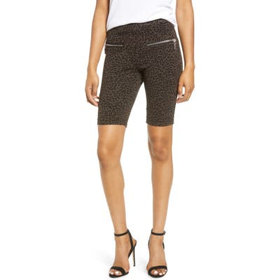 Blanknyc Leopard Print Side Zip Ponte Bike Shorts, Brown