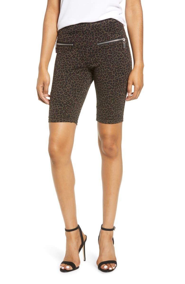 BLANKNYC Leopard Print Side Zip Ponte Bike Shorts, Main, color, LEOPARD