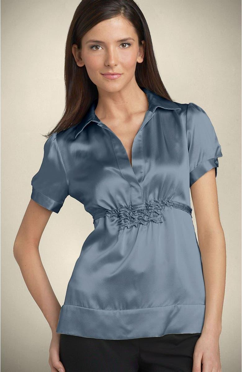 BCBGMAXAZRIA Ruffle Detail Silk Blouse, Main, color, DCM