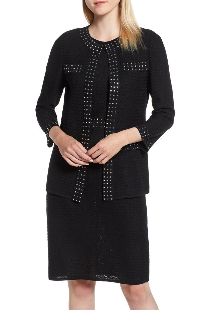 MING WANG Studded Knit Jacket, Main, color, 001