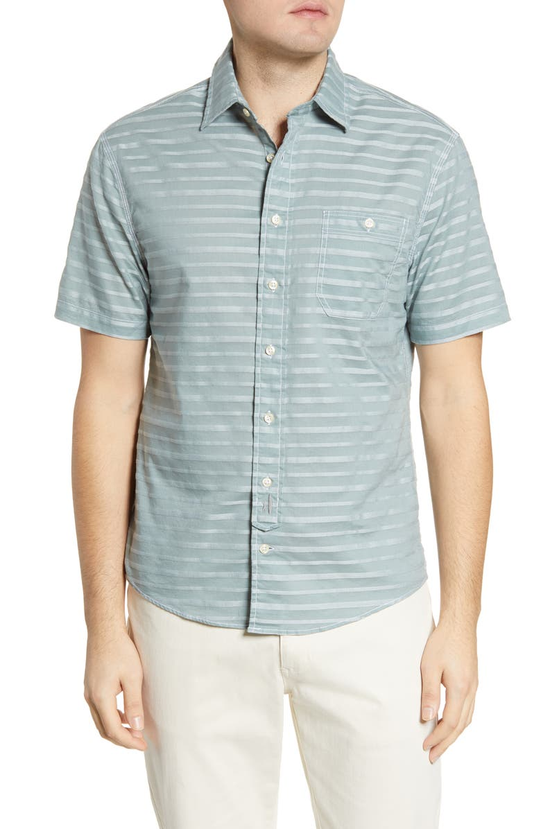 JOHNNIE-O Raleigh Hangin' Out Stripe Short Sleeve Button-Down Shirt, Main, color, AVOCADO