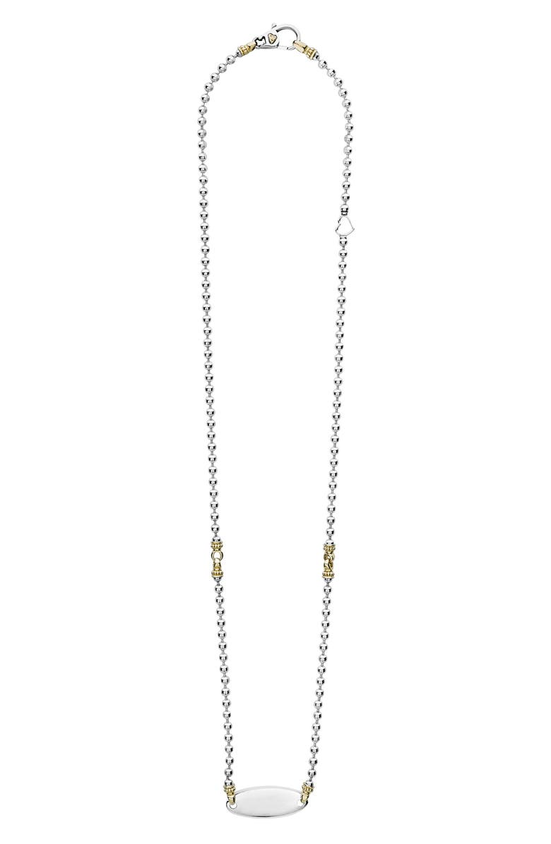 LAGOS Beloved Oval Plate Chain Necklace, Main, color, SILVER