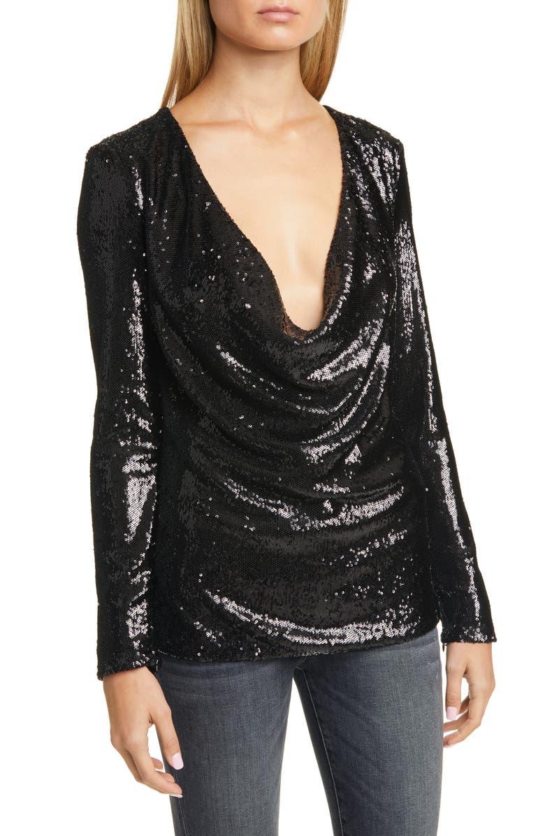 RAMY BROOK Ash Sequin Top, Main, color, BLACK