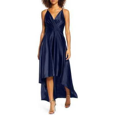 Chi Chi London Katherine Surplice High/low Satin Gown, Blue