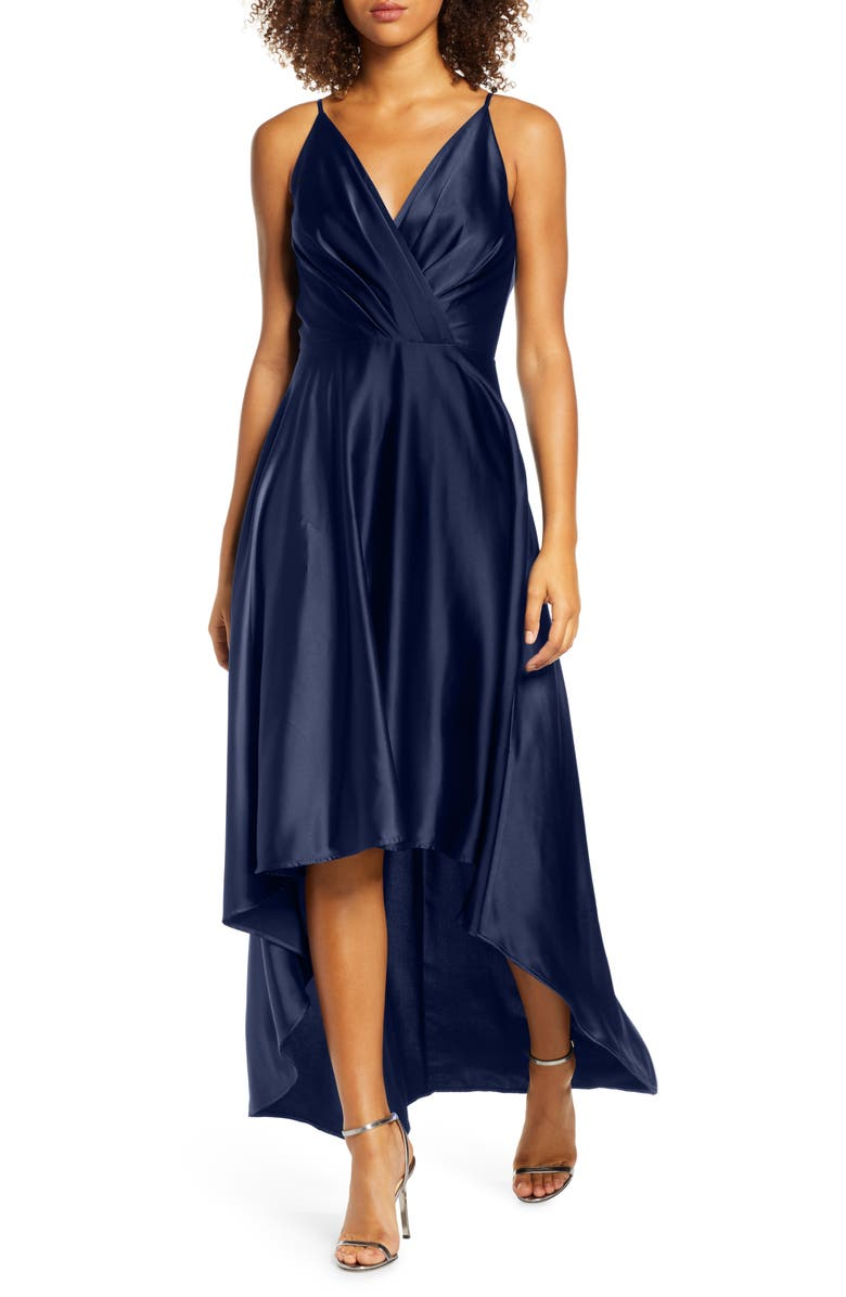 CHI CHI LONDON Katherine Surplice High/Low Satin Gown, Main, color, 410