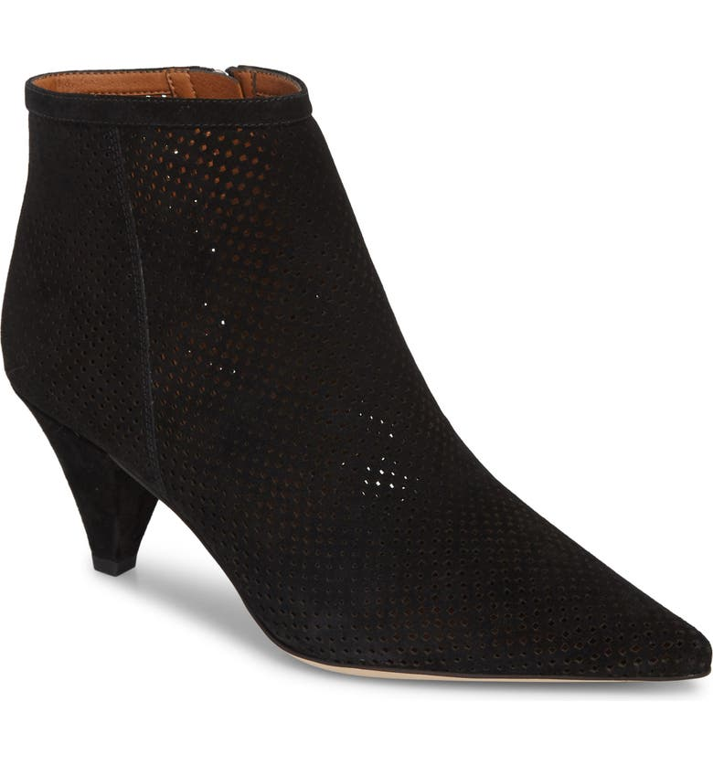 SARTO BY FRANCO SARTO Bobbi Perforated Pointy Toe Bootie, Main, color, BLACK SUEDE