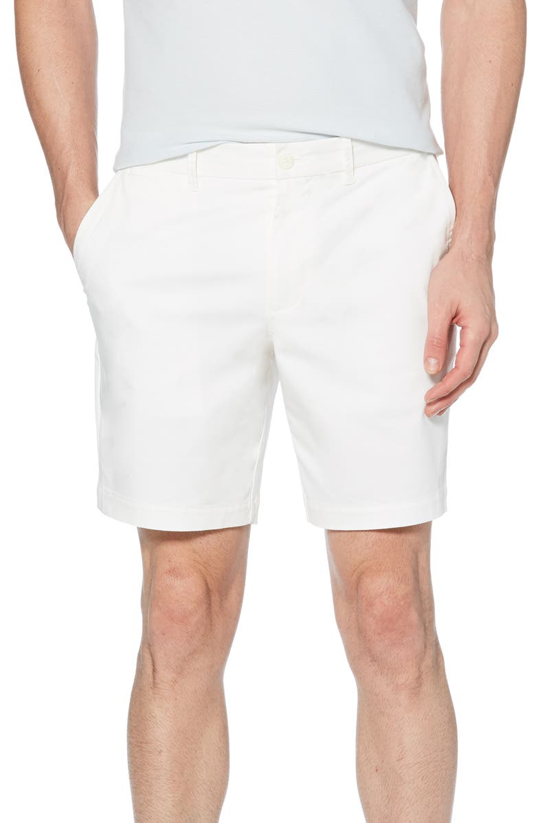 ORIGINAL PENGUIN Stretch Cotton Twill Shorts, Main, color, BRIGHT WHITE