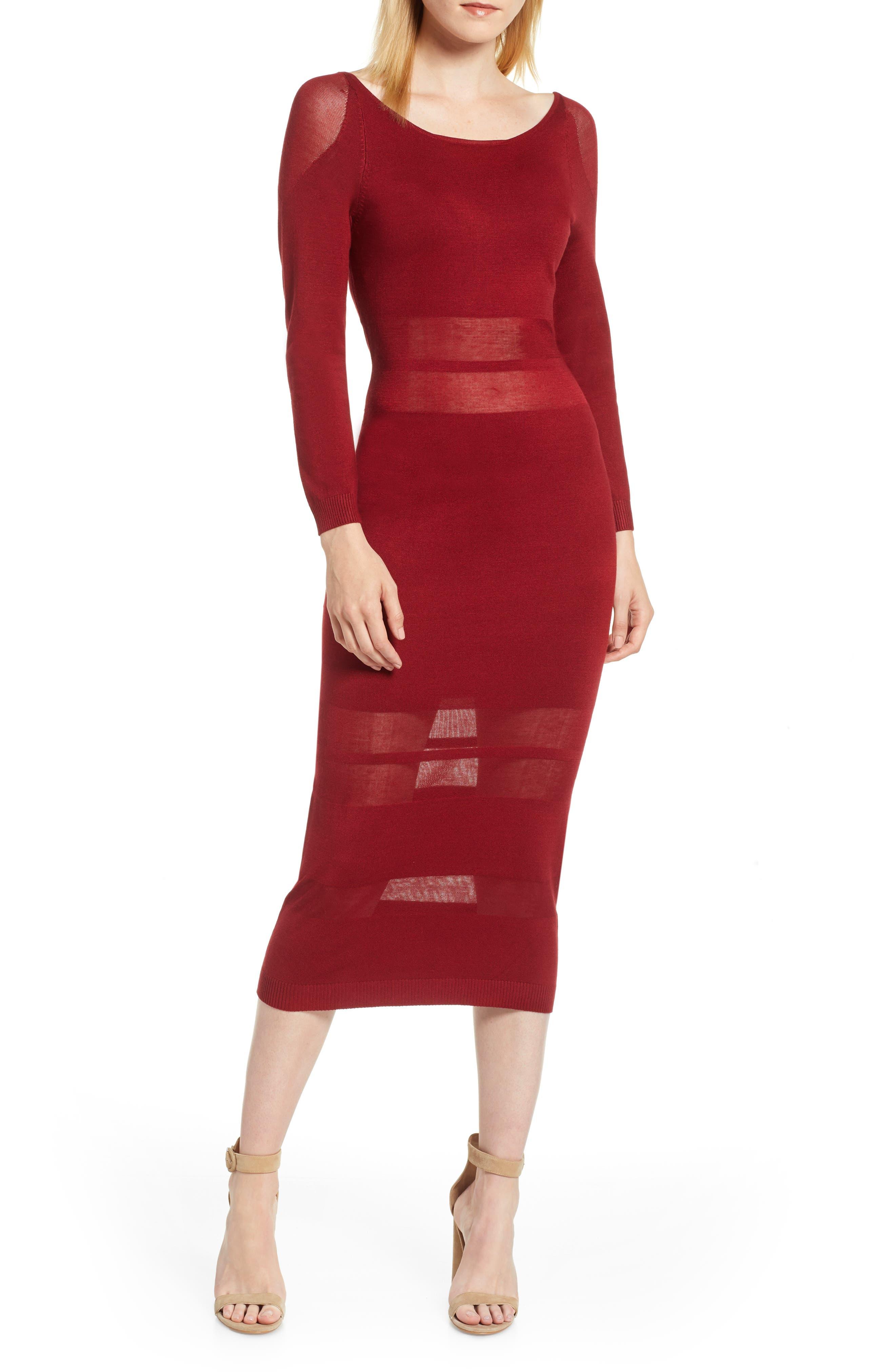 Sentimental Ny Illusion Stripe Midi Dress, Red