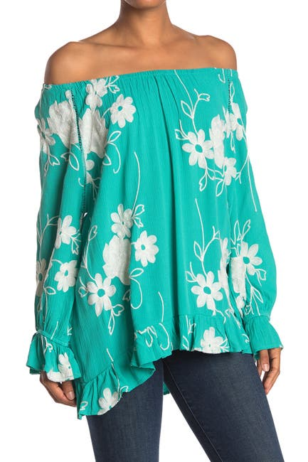 Image of Forgotten Grace Embroidered Floral Print Off-the-Shoulder Blouse