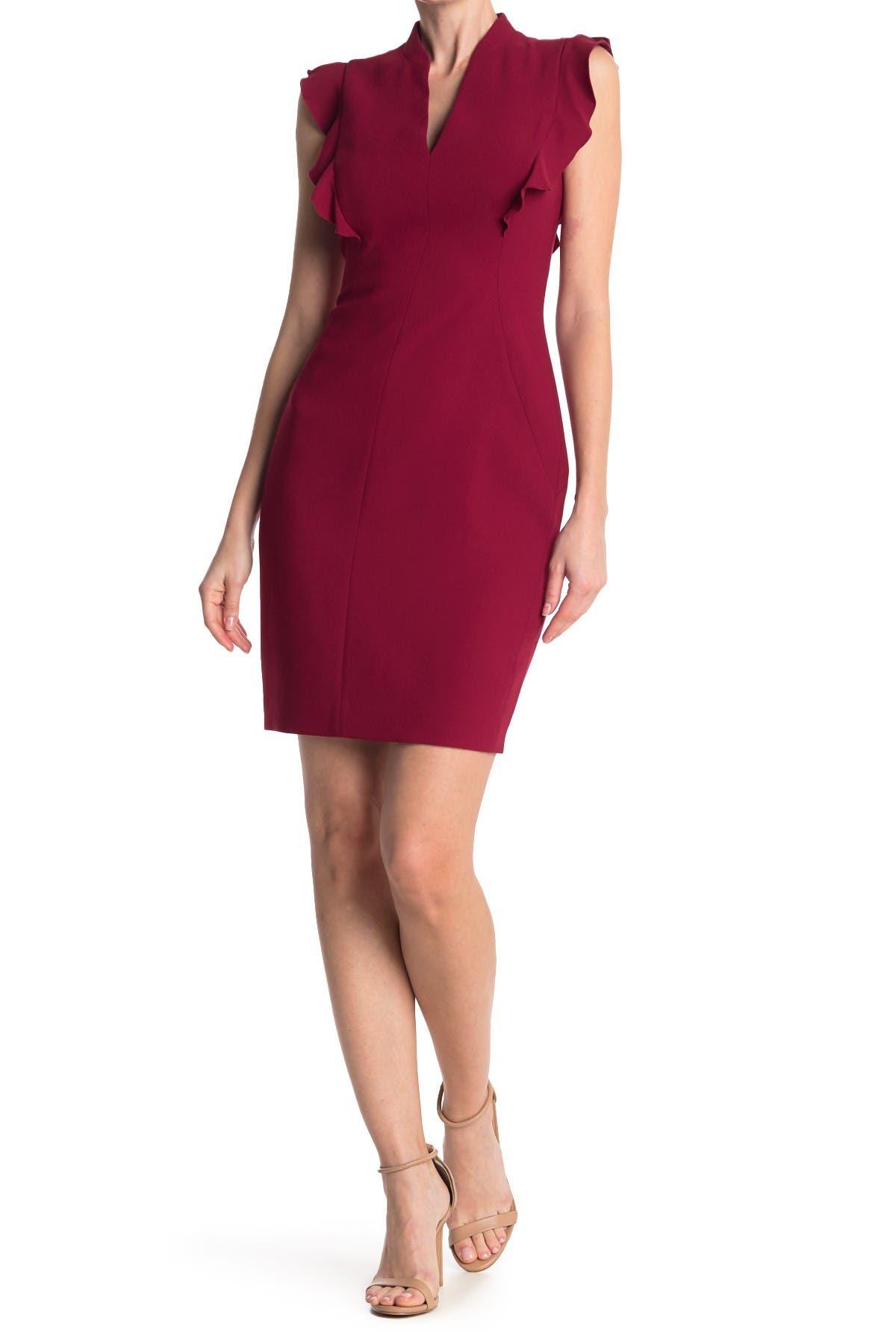 Image of Elie Tahari Gretta V-Neck Ruffle Dress