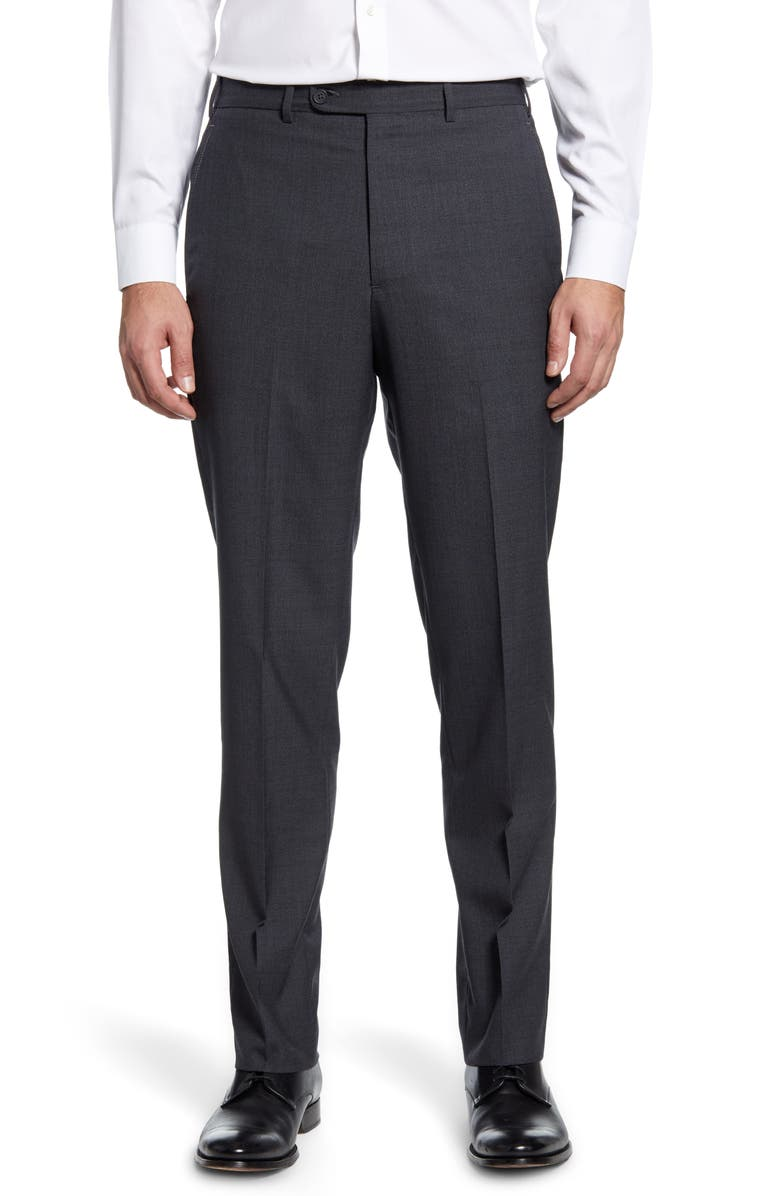 JOHN W. NORDSTROM<SUP>®</SUP> Torino Flat Front Solid Wool Dress Pants, Main, color, 030