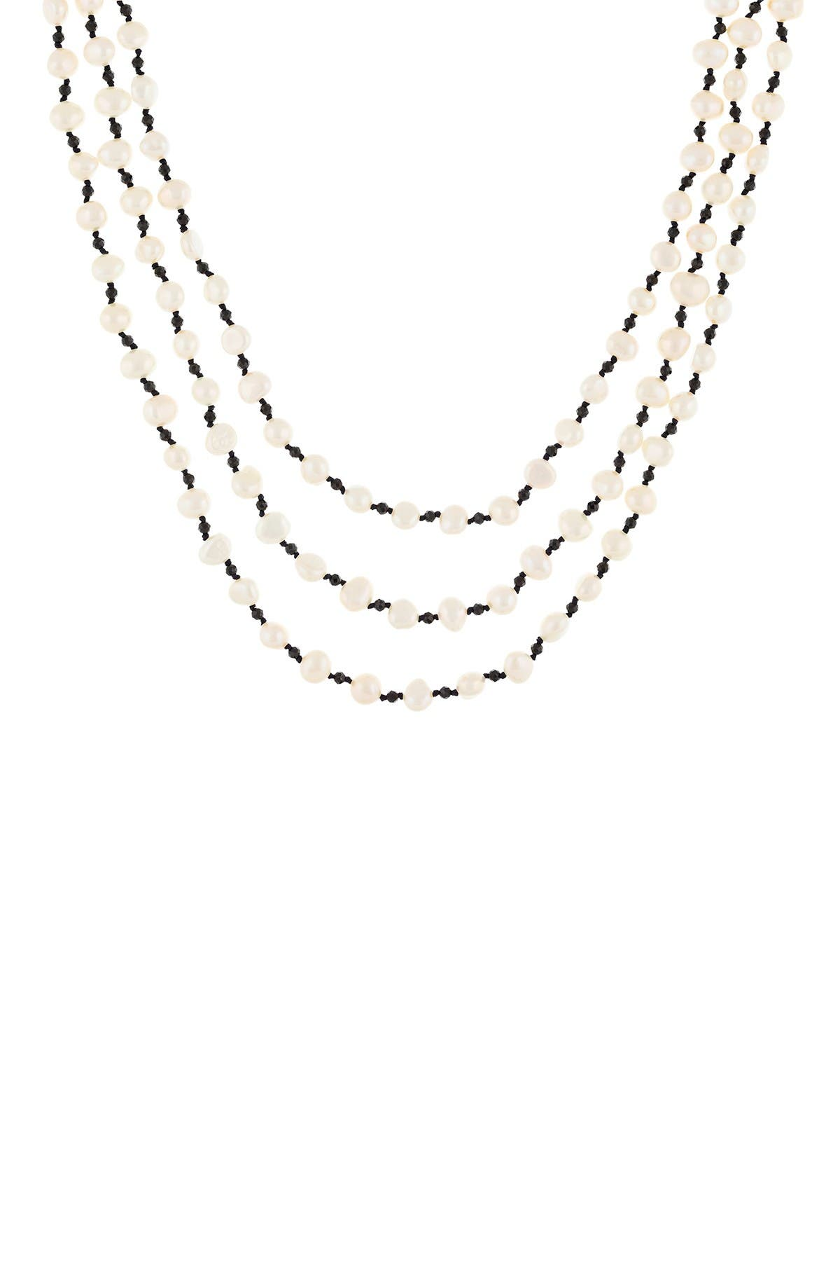 Image of Splendid Pearls 5-6mm White Freshwater Pearl Triple Strand Necklace