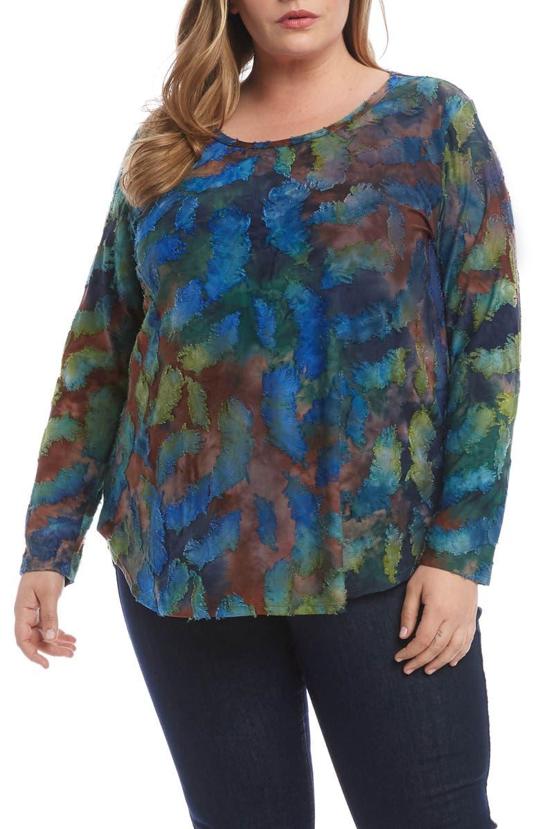 KAREN KANE Tie Dye Burnout Long Sleeve Shirttail Tee, Main, color, BLUE GREEN