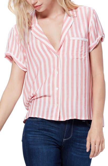 Paige T-shirts STRIPE BUTTON UP SHORT SLEEVE SHIRT