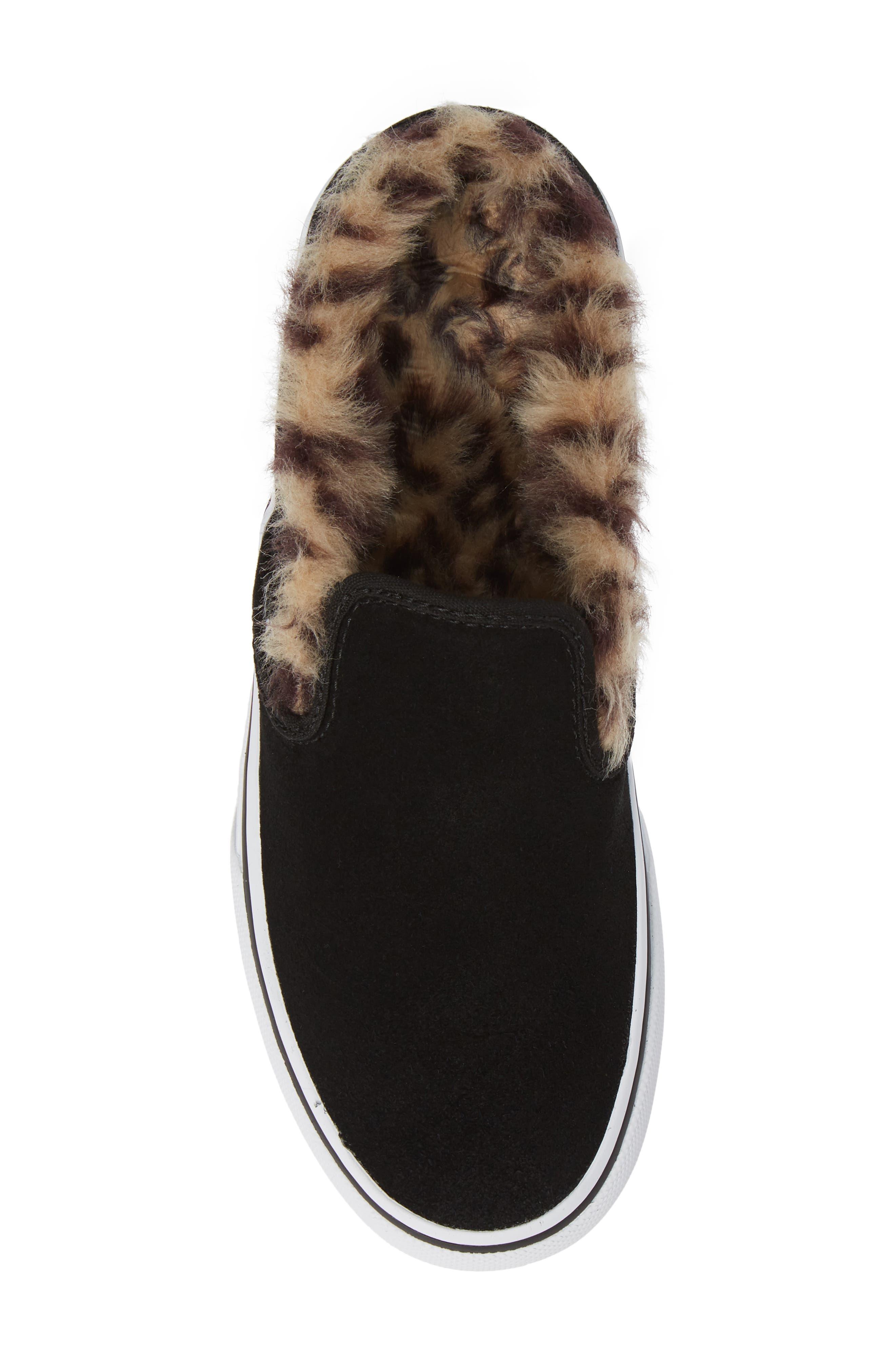 ,                             Classic Faux Fur Slip-On Platform Sneaker,                             Alternate thumbnail 5, color,                             001