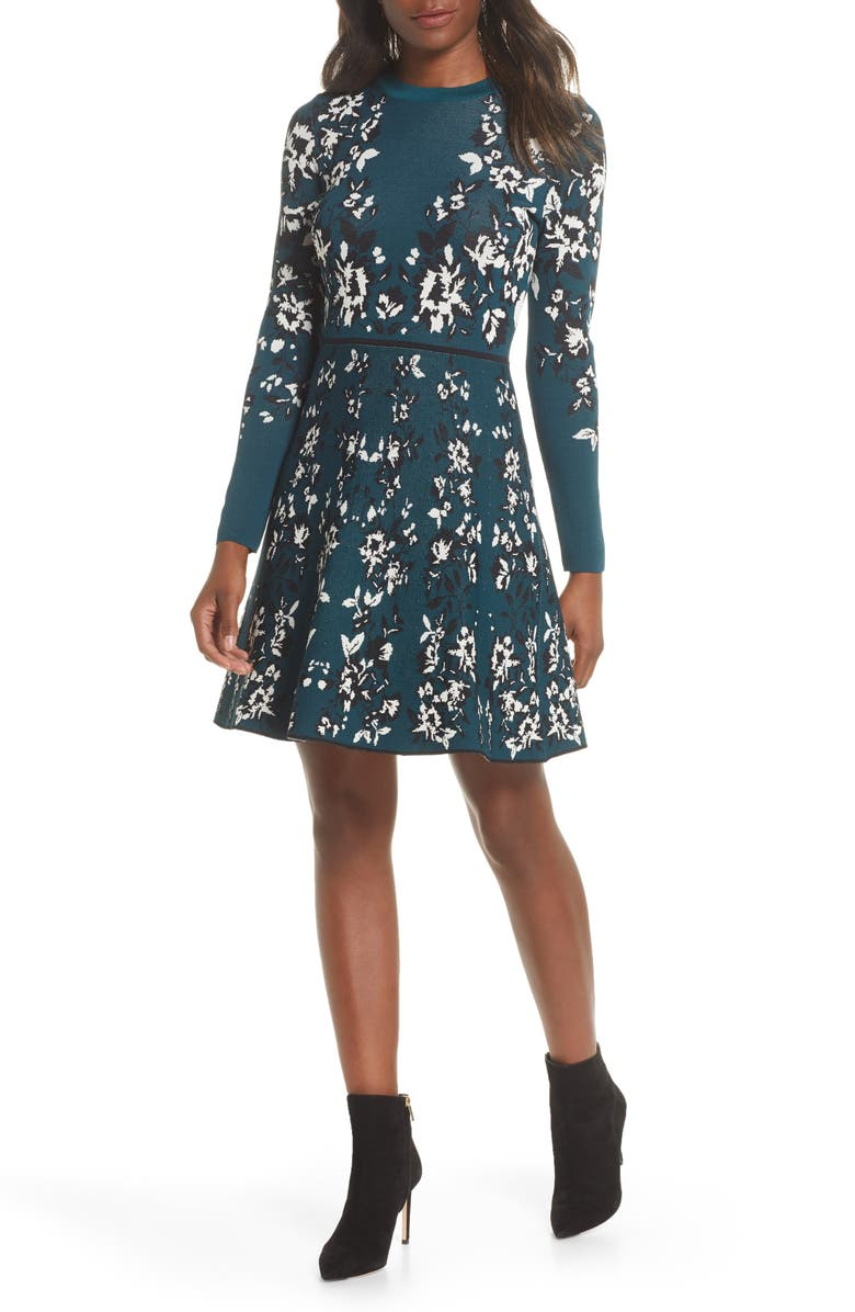 ELIZA J Floral Long Sleeve Fit & Flare Sweater Dress, Main, color, GREEN
