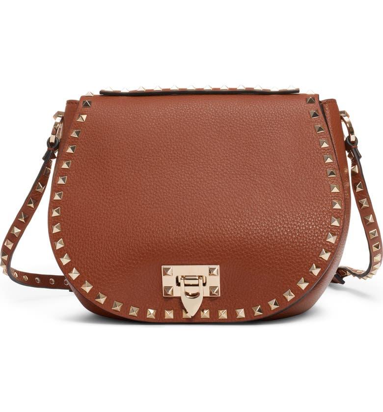 VALENTINO GARAVANI Small Rockstud Leather Saddle Bag, Main, color, SELLERIA