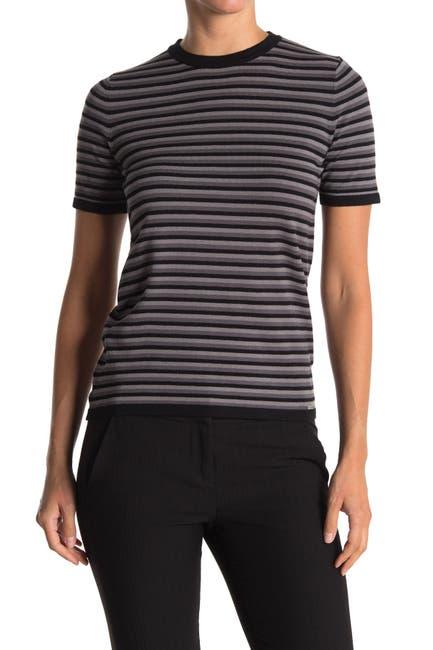 Image of T Tahari Short Sleeve Crew Neck Striped Sweater
