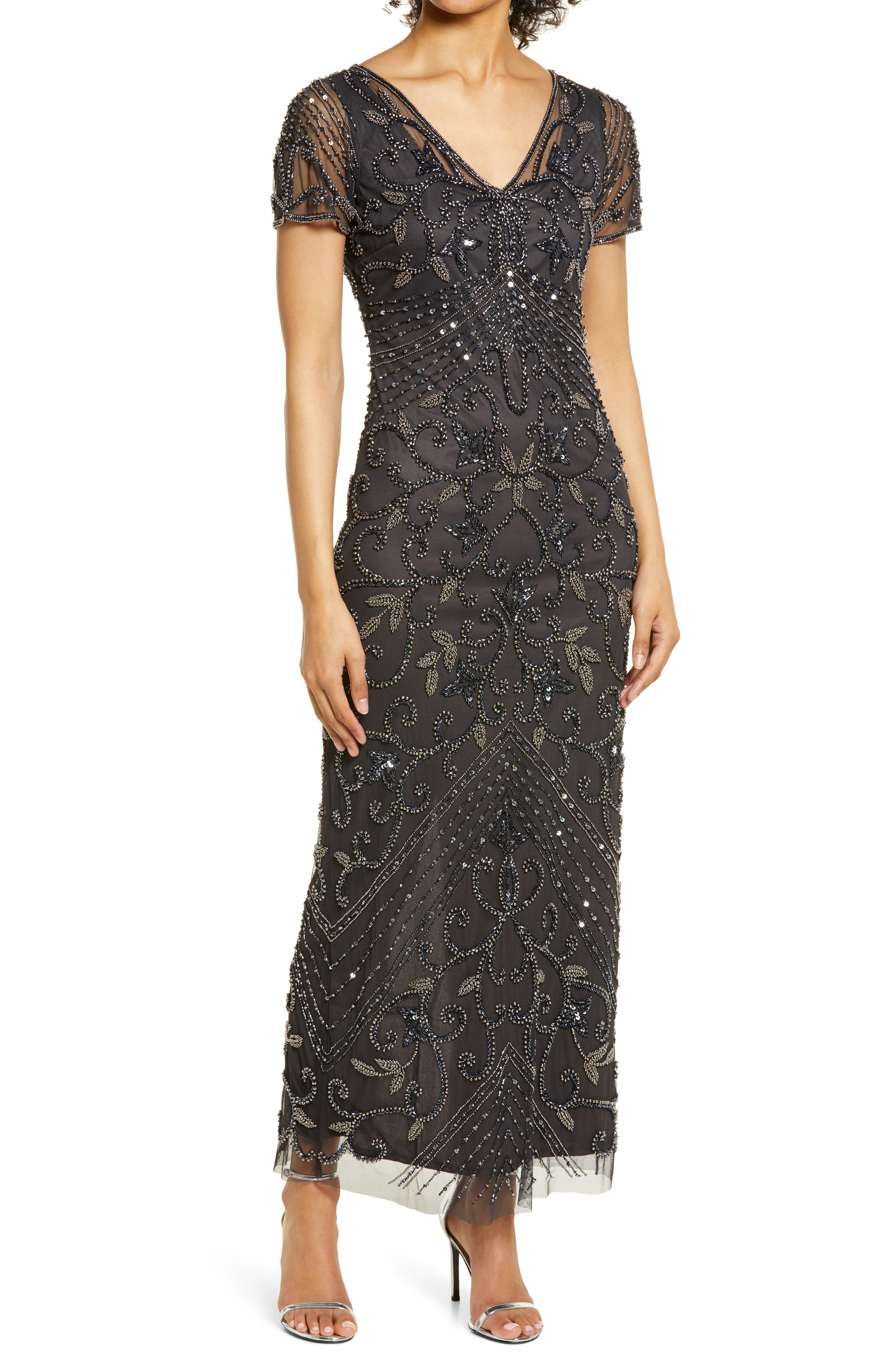 Vintage 1920s Dresses – Where to Buy Womens Pisarro Nights Beaded Mesh Column Gown Size 12 - Grey $238.00 AT vintagedancer.com