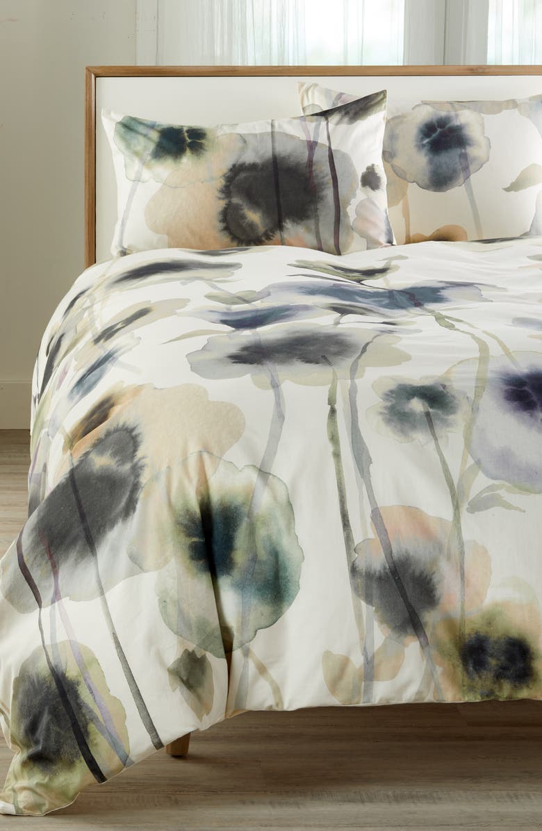 TREASURE & BOND Floral Print Duvet Cover, Main, color, WHITE WHISPER