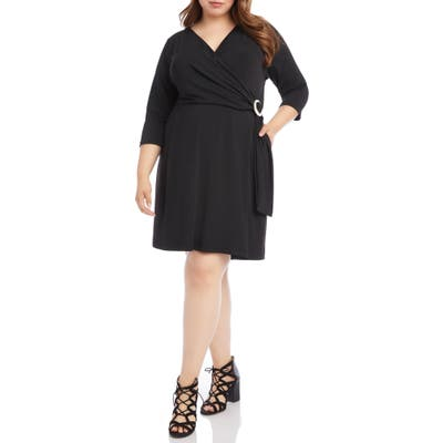 Plus Size Karen Kane Faux Wrap Dress, Black