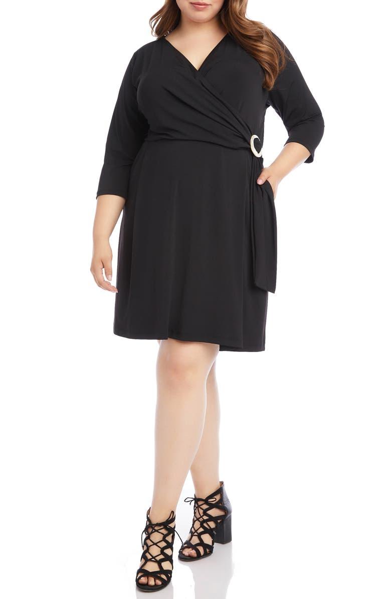 KAREN KANE Faux Wrap Dress, Main, color, BLACK