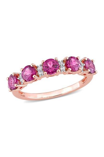 Image of Delmar 18K Rose Gold Plated Sterling Silver Rhodolite & Topaz Eternity Ring