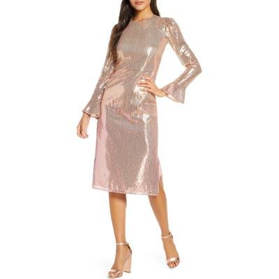 Rachel Parcell Sequin Long Sleeve Dress, Pink (Nordstrom Exclusive)