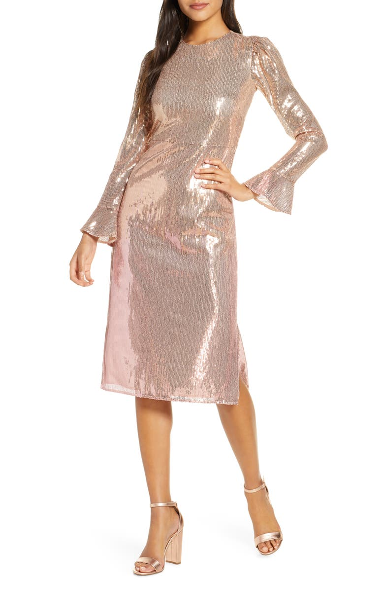 RACHEL PARCELL Sequin Long Sleeve Dress, Main, color, PINK BRIDE OMBRE