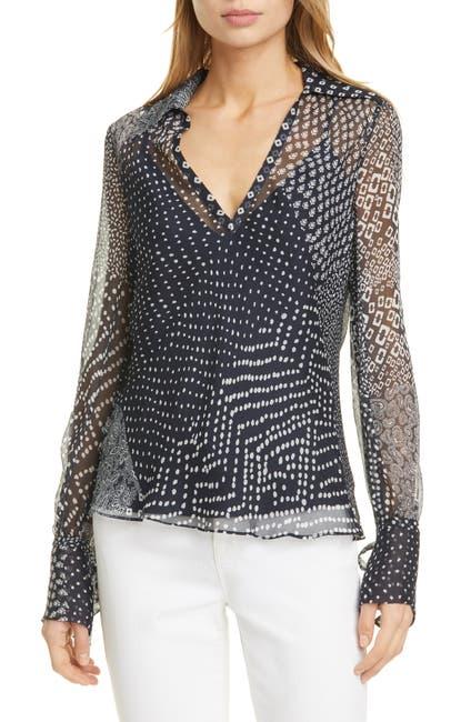 Image of Diane von Furstenberg Kathleen Mixed Print Sheer Silk Shirt