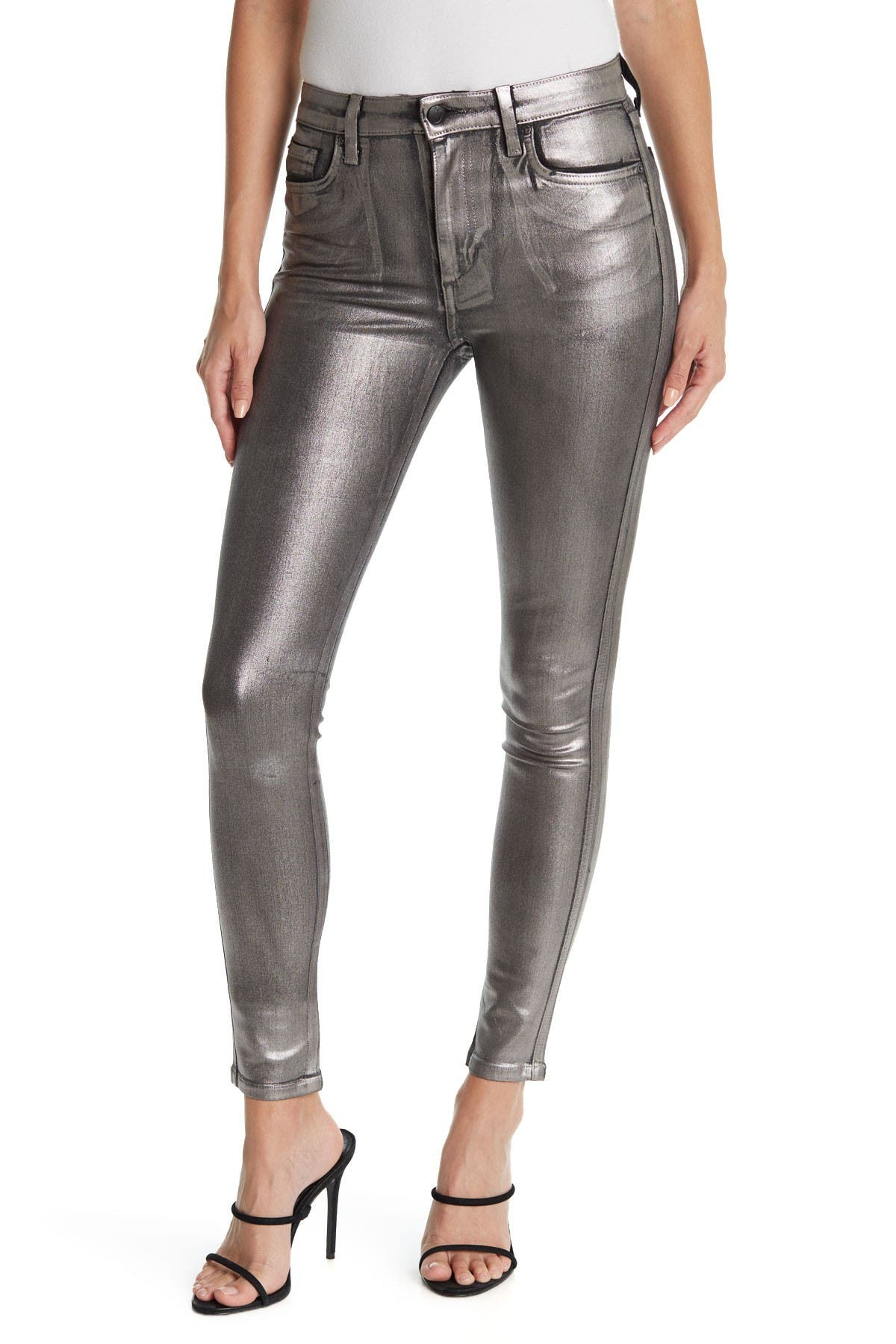 Image of Joe's Jeans Charlie Ankle Silver Foil Jeans