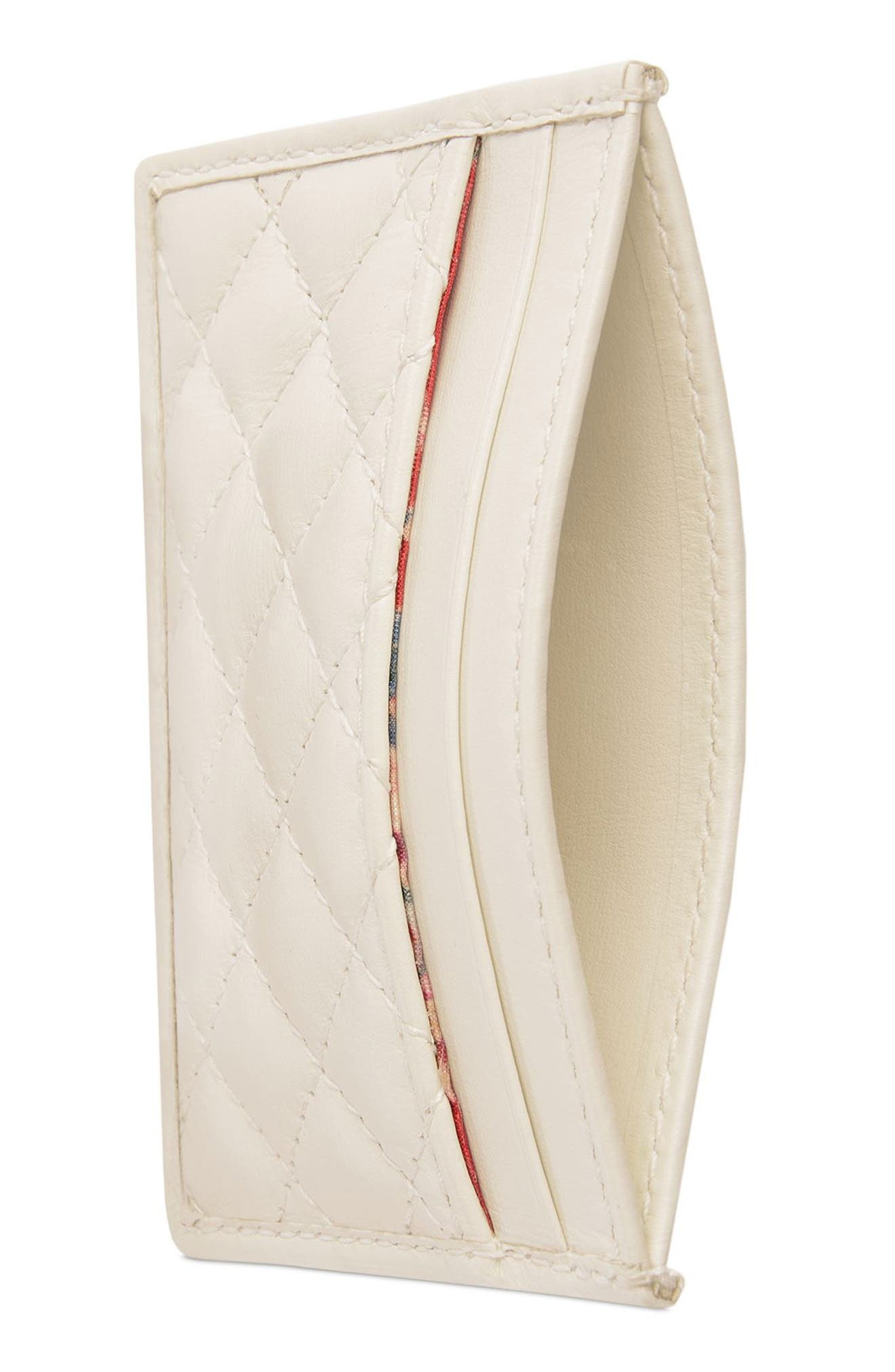 ,                             Quilted Leather Card Case,                             Alternate thumbnail 2, color,                             OFF WHITE/ VERT/ RED